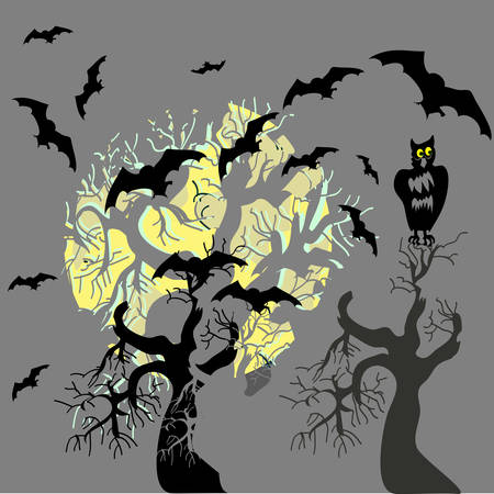 Halloween party scary background, vector illustration. Vector