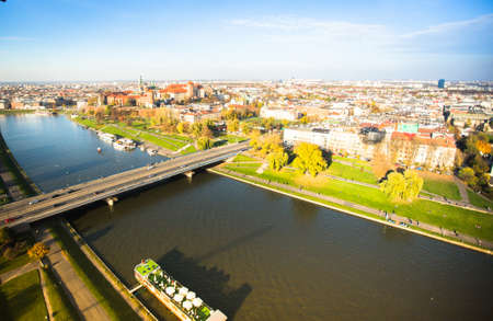 KRAKOW, POLAND - OCT 20: Aerial view of the Vistula River in the historic city center, Oct 20, 2013 in Krakow, Poland. Vistula is the longest river in Poland, at 1,047 kilometres in length.