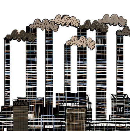 Factory. Industrial building factory, smoke from the chimneys, vector illustration in cartoon stile. Vector