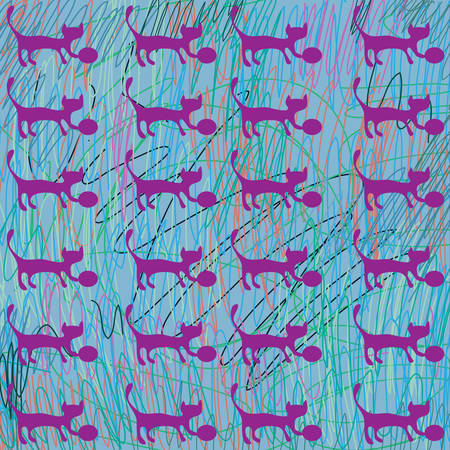 Vector hand drawn colorful cute cats seamless pattern background. Vector
