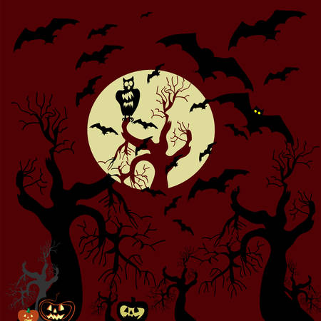 Vector Halloween background with bats. Vector
