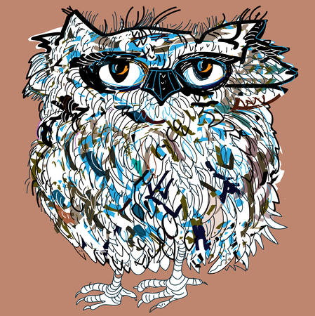 Owl, symbol of Halloween, vector illustration. Illustration for t-shirt. Vector