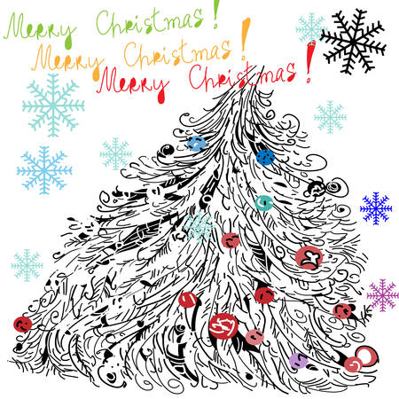 Merry Christmas - Vector illustration, Christmas tree on a white background.  Vector