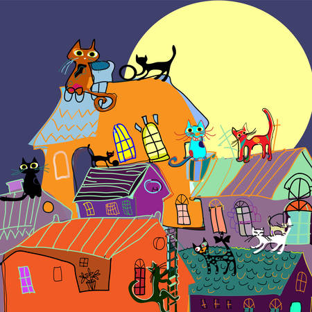 nights: Cute Cats on the rooftops of the city at nights, cartoon drawing. Illustration for children, vector illustration.