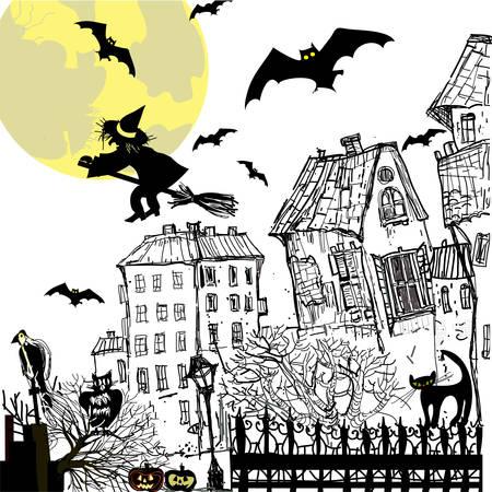 ink sketch: Inchiostro schizzo sfondo di Halloween. Illustrazione di vettore.