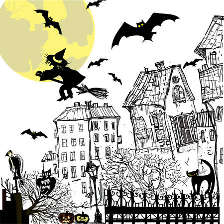 Ink sketch halloween background. Vector illustration. Vector