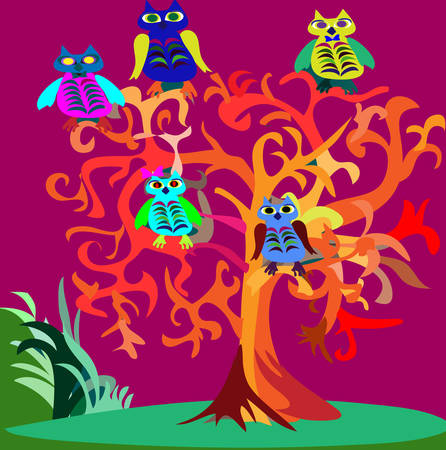 Halloween psychedelic picture with owls in trees. Vector illustration. Vector