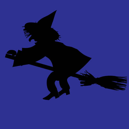 hag: Silhouette of witch on a broomstick. Halloween vector illustration. Illustration