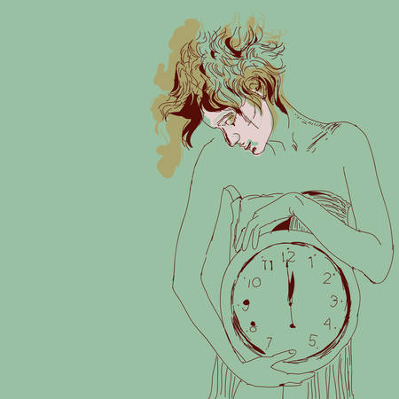 frizzy: Conceptual portrait of woman with big clock. Vector illustration.