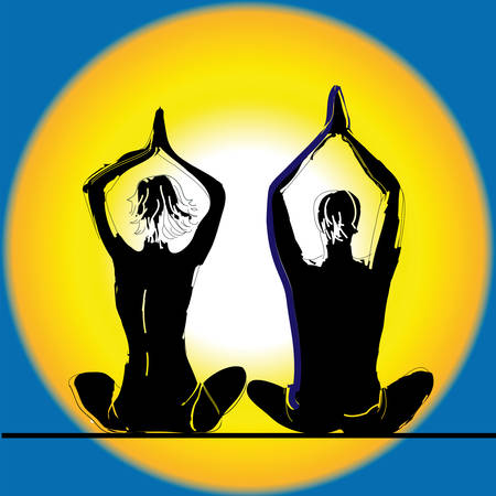 Young couple practicing yoga on the sea beach at sunset. Vector illustration. Vector