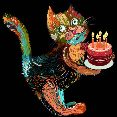 Cute cartoon cat with cake. Vector illustration on a black background. Vector