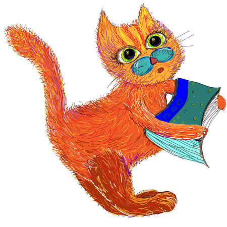 cat's eye glasses: Cute cartoon cat with a book. Vector illustration on a white background.