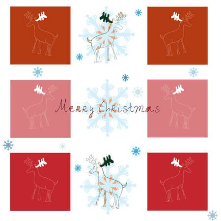 Merry Christmas - vector background with reindeer and snowflakes (Christmas and New Year Greeting card) Vector