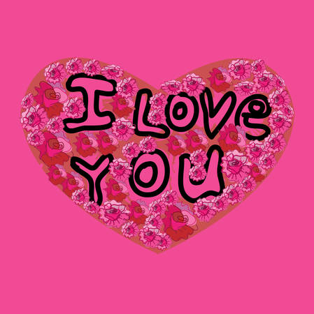 I Love You inscription on the Heart, pink background. Vector illustration. Vector