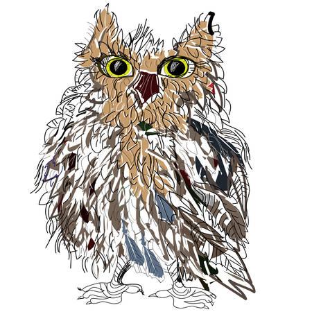 Owl on a white background, symbol of Halloween, vector illustration. Illustration for t-shirt. Vector