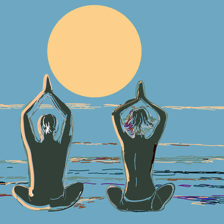 Silhouette yoga couple at sunset on the sea beach. Vector illustration in style of watercolor drawing. Vector