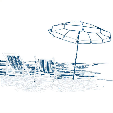 loungers: Pair of beach loungers on the deserted coast sea. Vector sketch on a white background.