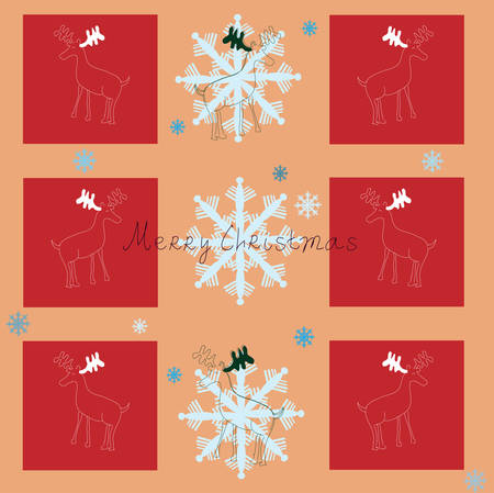 Merry Christmas. Vector background with snowflakes and reindeer. Vector