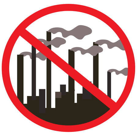 stop global warming: Prohibition signs. Factory, plant, smoke from the chimneys. Vector illustration. Illustration