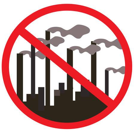kwaśne deszcze: Znaki zakazu. Fabryka, roślina, dym z kominów. Ilustracji wektorowych.