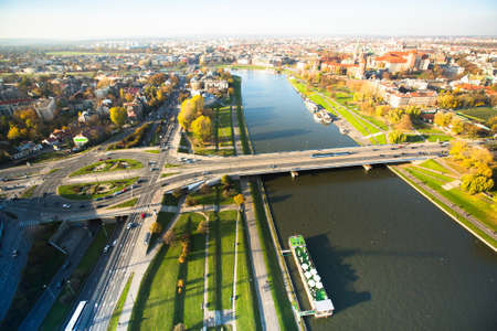 A birds eye view of the Vistula River in the historic center of Krakow, Poland. photo