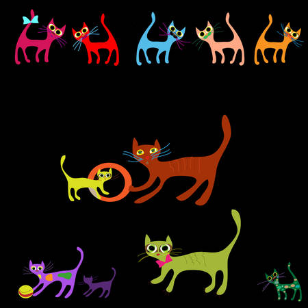 Vector collection of cartoon cats Vector