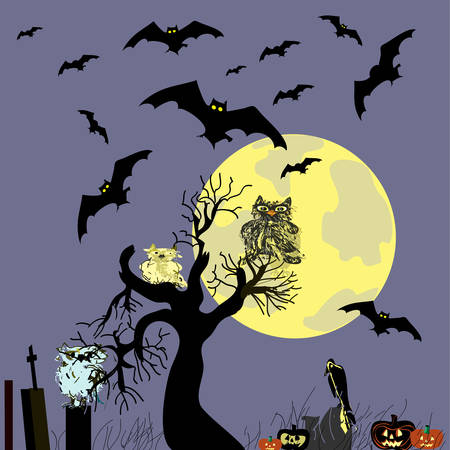 Halloween background with owls and bats Vector