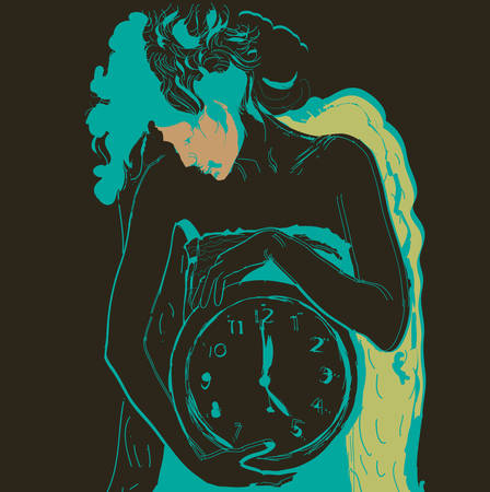 Young scrawny woman with big clock in hands. illustration.  Illustration