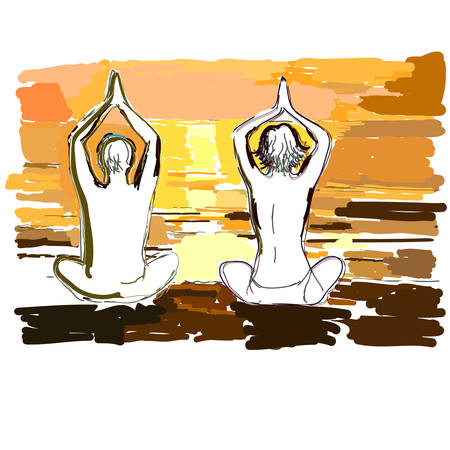 Silhouettes of young couple doing yoga, meditating in lotus position. Vector illustration in the style of watercolor drawing. Stock Vector - 23476186
