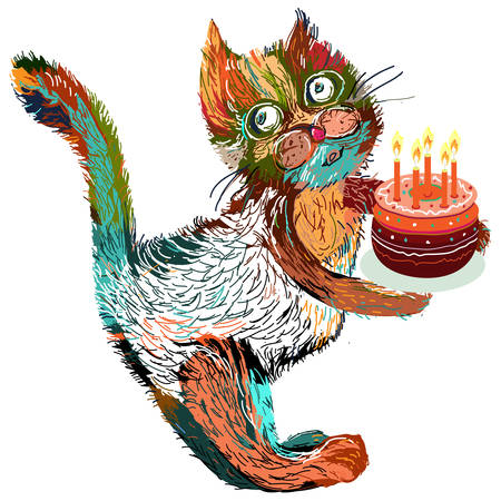 Cute cartoon cat with cake. Vector illustration on a white background. Vector