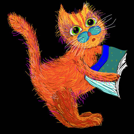 Cute cartoon cat with a book. Vector illustration on a black background. Vector