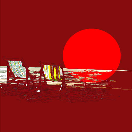 loungers: Pair of beach loungers on the deserted coast sea at sunset. Sketch on a red background.