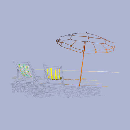 loungers: Pair of beach loungers on the deserted coast sea. illustration on a purple background.