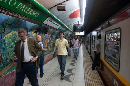 BUENOS AIRES, ARGENTINA - NOV 30: Scene in the Buenos Aires subway, Nov 30, 2010 in Buenos Aires, Argentina. Rapid transit system of lines opened Dec 1, 1913. Passenger traffic for the year 328.5 million.
