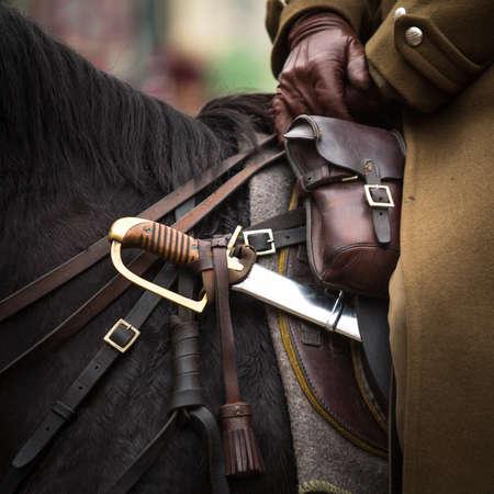 reenact: Close-up harness and saber at Polish cavalry. Stock Photo