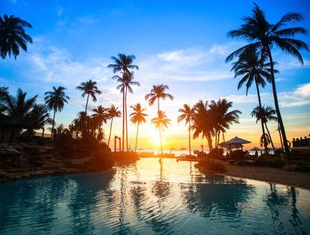 sunset beach: Beautiful sunset at a beach resort in tropics.