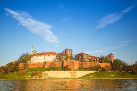 kilometres: KRAKOW, POLAND - OCT 20: View of Royal Wawel castle and Vistula river, Oct 20, 2013 in Krakow, Poland. Vistula is the longest river in Poland, at 1,047 kilometres in length. Editorial