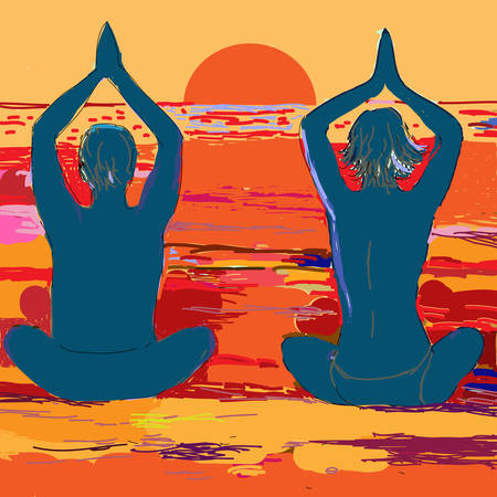 yoga sunset: Silhouette yoga couple after sunset on the sea beach. Vector illustration in watercolor style drawing.