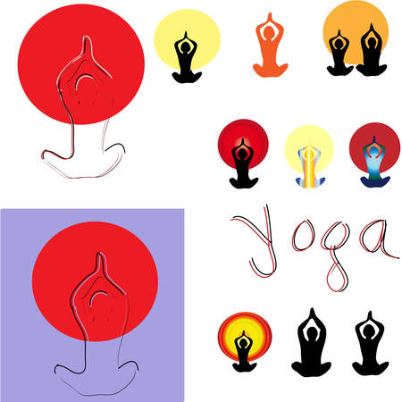 Set of vector illustration of yoga poses. Stock Vector - 24035933