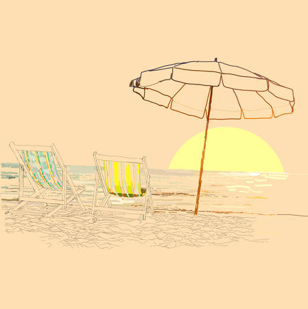 loungers: Pair of beach loungers on the deserted coast sea at sunrise. Vector sketch. Illustration