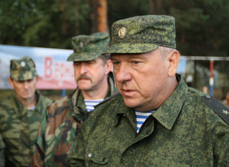 cross armed: KOSTROMA REGION - AUG 26: Vladimir Shamanov (Commander-in-Chief Russian Airborne Troops) during Command post exercises with 98-th Guards Airborne Division, Aug 26, 2010 in Kostroma region, Russia.