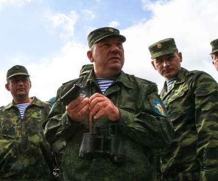 airborne: KOSTROMA REGION - AUG 26: Vladimir Shamanov (C) (Commander-in-Chief Russian Airborne Troops) during Command post exercises with 98-th Guards Airborne Division, Aug 26, 2010 in Kostroma region, Russia.