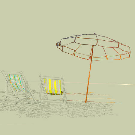 loungers: Vector sketch - pair of beach loungers on the deserted coast.