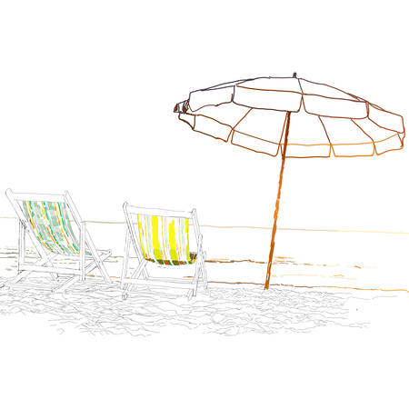 loungers: Pair of beach loungers on the deserted coast sea. Vector illustration on a white background.