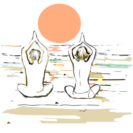 couple beach sunset: Silhouette yoga couple during sunset on the sea beach. Vector illustration in style of watercolor drawing. Illustration