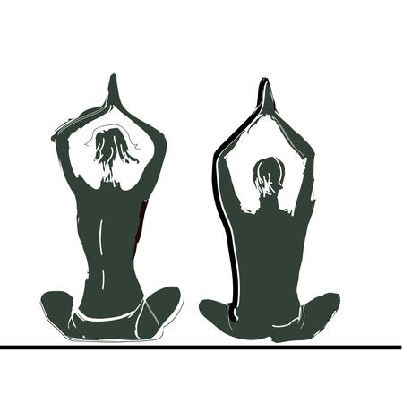 Vector illustration: Young couple practicing yoga on the sea beach at sunset. Vector