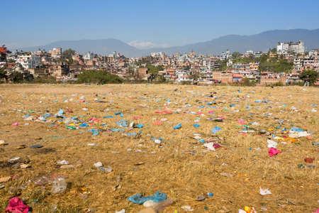 kathmandu: Environmental problems in Kathmandu. Environmental pollution.  Stock Photo