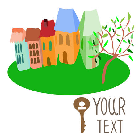 illustration houses and house key, with place for your text. Vector