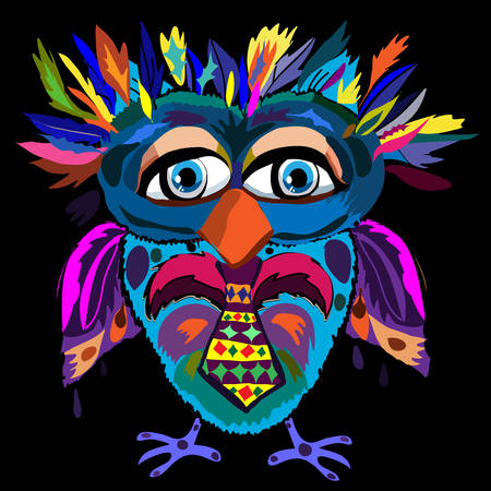 Cute Owl, cartoon drawing, cute illustration for children, illustrations (hipster symbol series) Vector