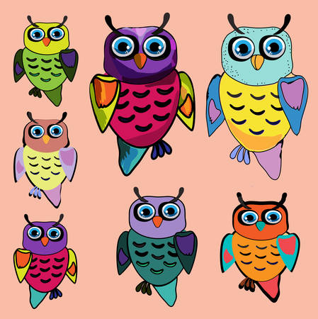 Set of Cute Owl, cartoon drawing, cute illustration for children, illustrations (hipster symbol series) Vector